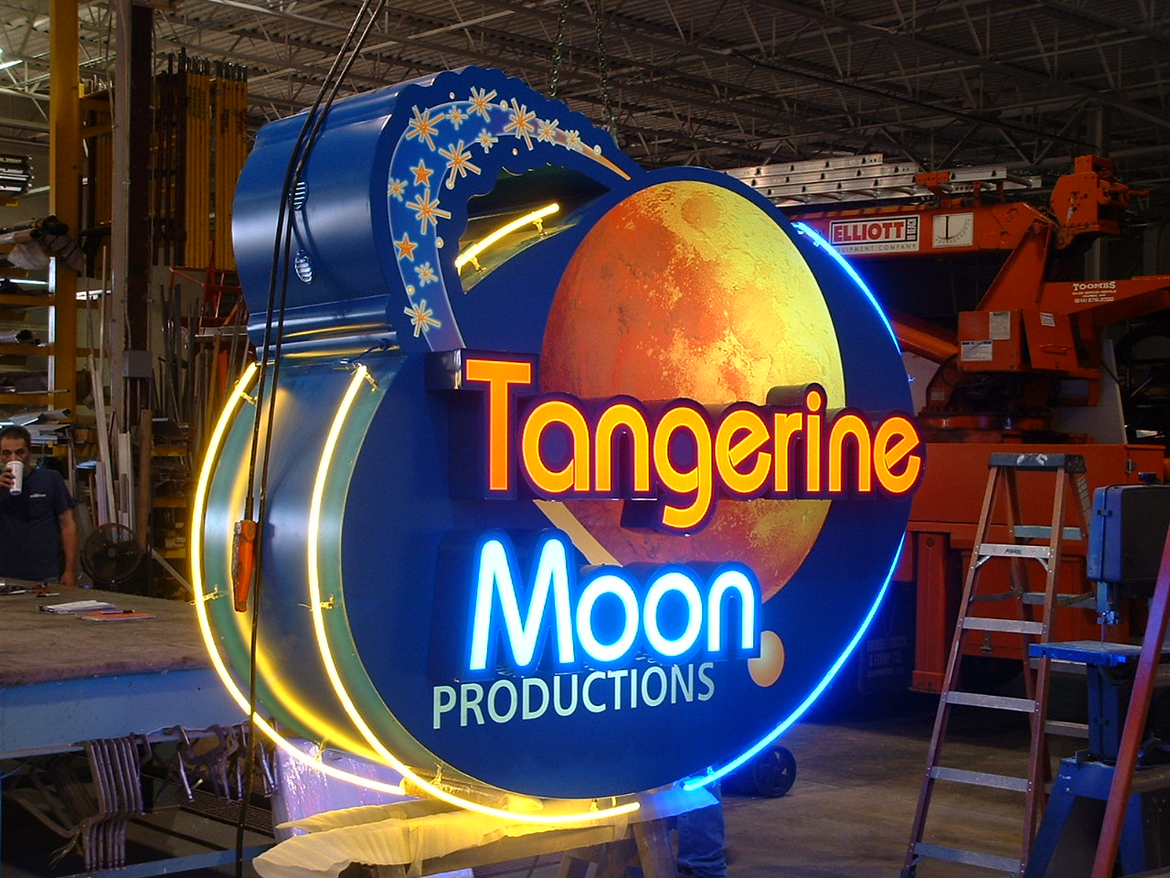 Tangerine Moon Pole Sign