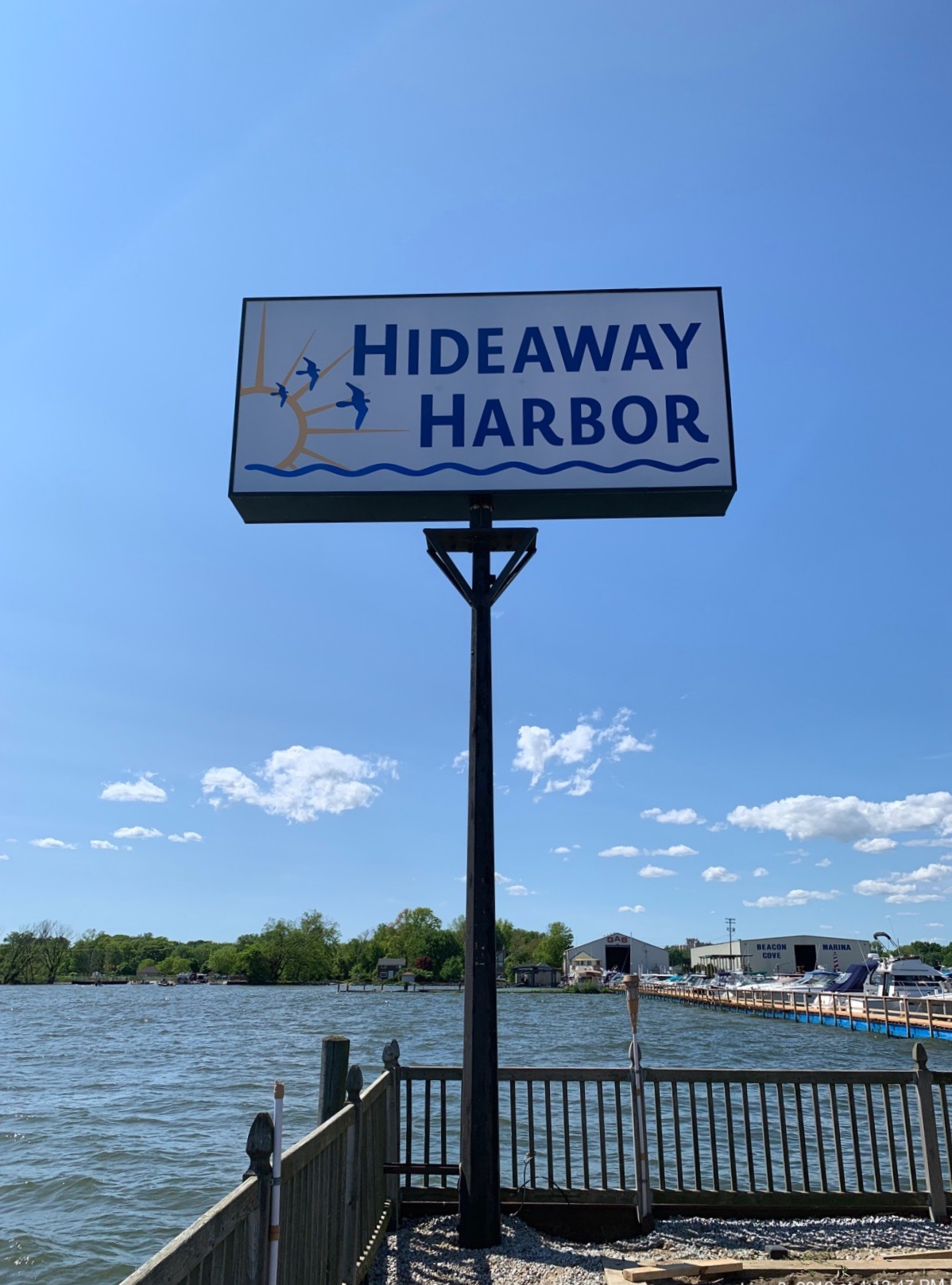 Hideaway Harbor Pole Sign Face in Harrison Twp