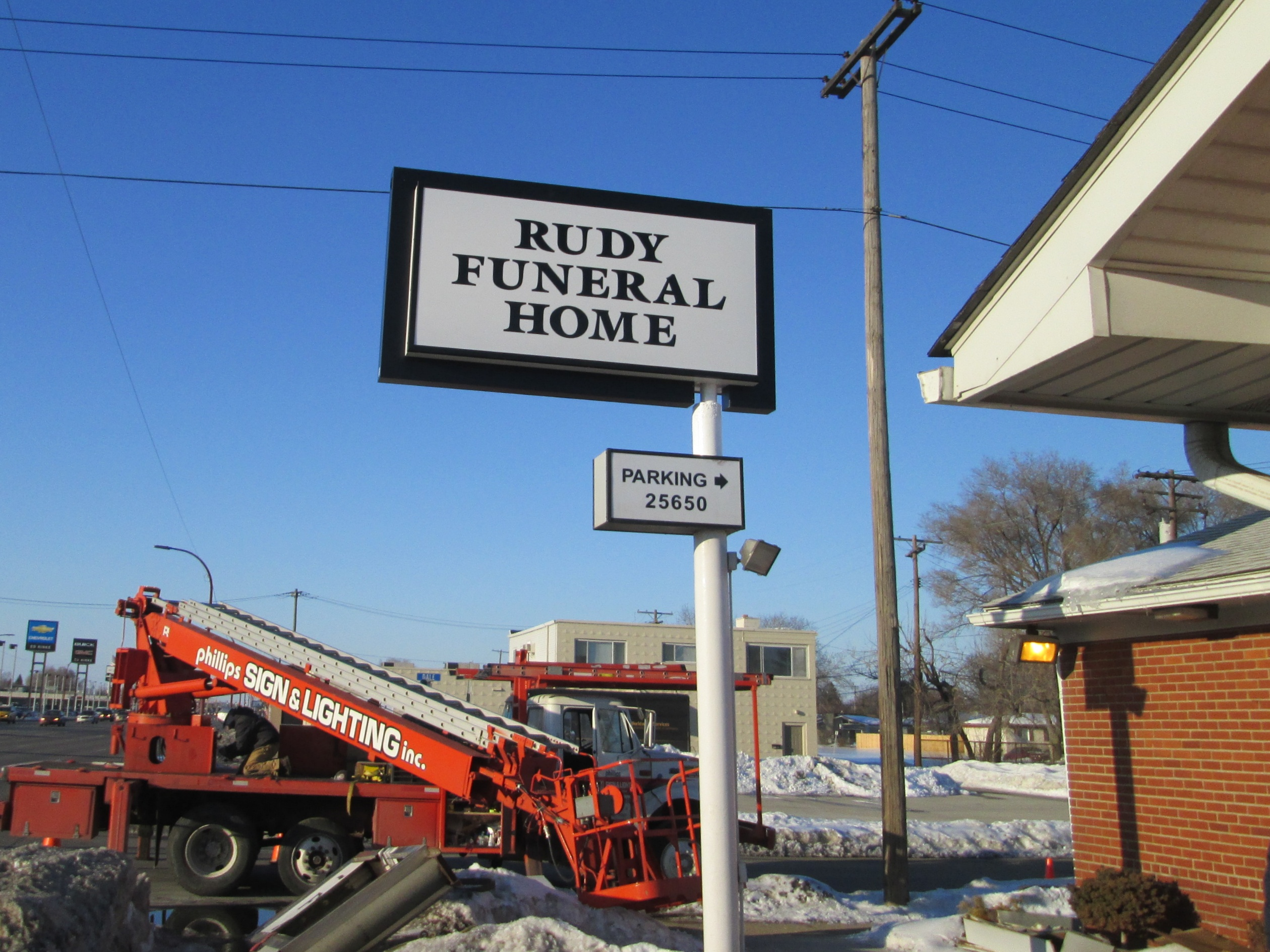 Rudy Funeral Home Pole Sign