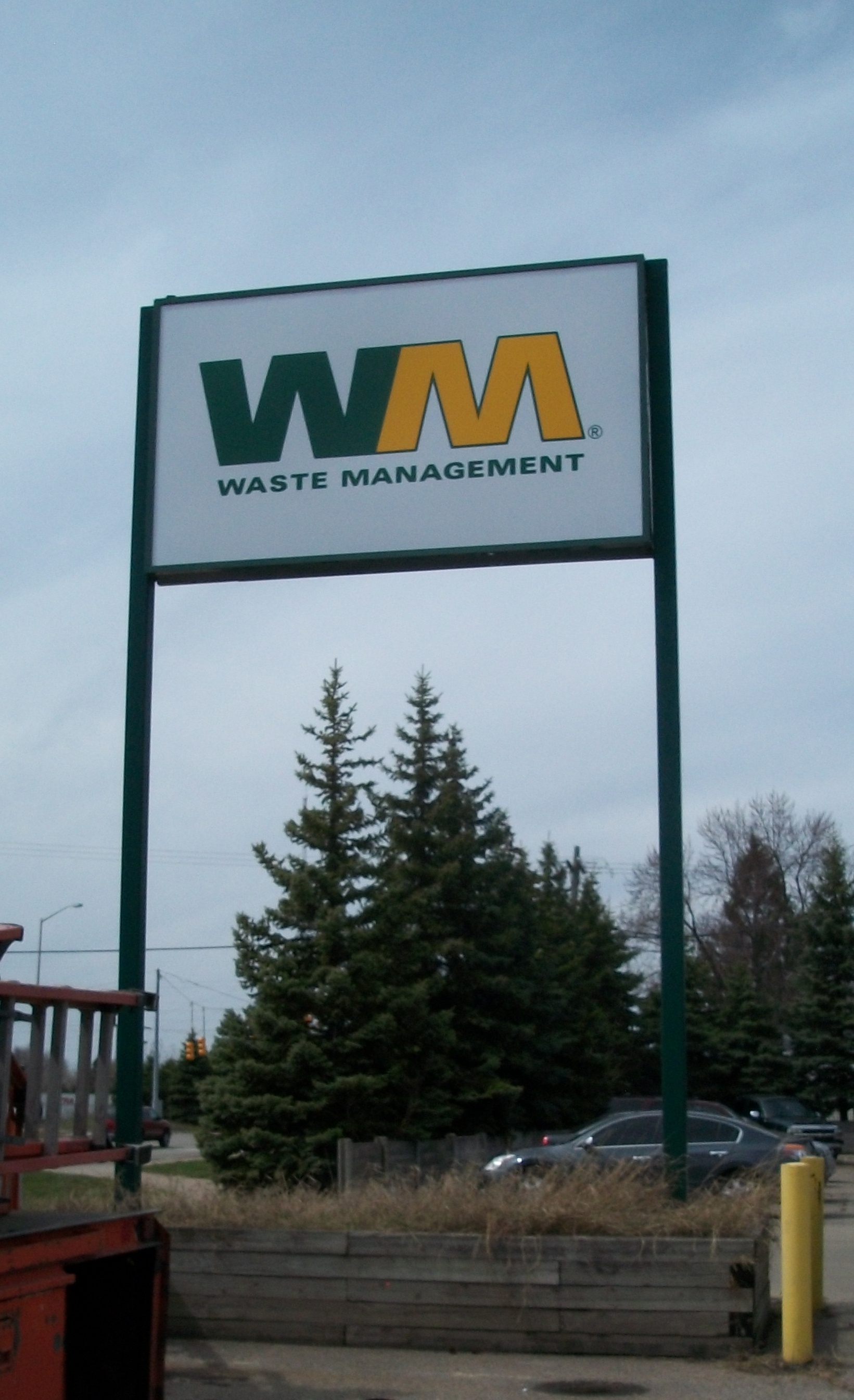 Waste Management Pole Sign