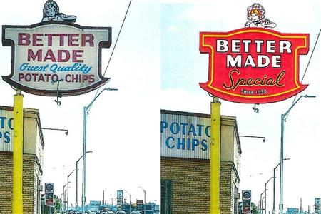 Phillips Signs helps Better Made Detroit brand change their sign after 70 years
